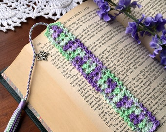 Crochet bookmark, butterfly charm, unique book lover gift