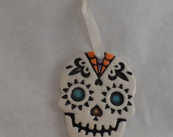 Day of the Dead ornament - colorful ceramic