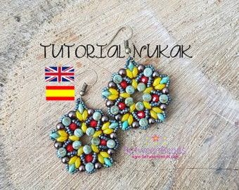 Schema Tutorial Beadwork Earrings Pattern Beadweaving Earrings, Jewelry, Spanish and English, Superduo Beads Pearls, Seed Beads Schema Nukak