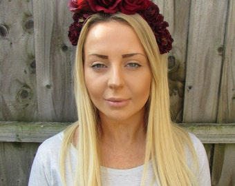 Large Burgundy Deep Red Rose Flower Garland Headband Hair Crown Headpiece 1928