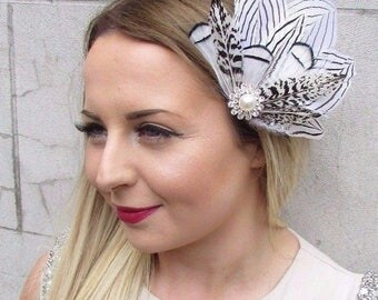 Black White Silver Statement Feather Fascinator Hair Clip Races 1920s Vtg 2838