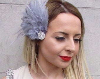 Grey Silver Feather Fascinator Hair Clip Races 1920s Vintage Flapper Deco 2904