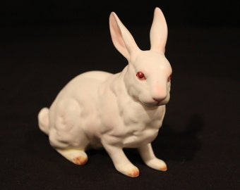 Vintage Lefton Bunny Rabbit, Easter Decor, White Rabbit, Hand Painted Pink Accents, Albino Bunny, Porcelain (F064)