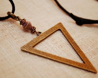 Geometric necklace, black leather cord pendant, tribal beaded necklace, unique triangle bronze jewelry, long exclusive everyday jewelry