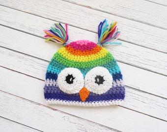 Rainbow Owl Hat, Crochet Owl Hat