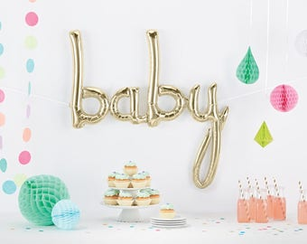 Baby Script Ballon   Baby Shower Decor   Baby Announcement   Smash Cake  Photo Prop