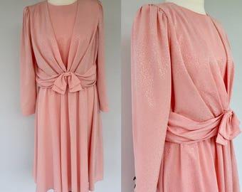 Vintage 80s Pink Dress, Pink Dress Suit, 1980s Pink Dress, Summer Suit, 80s Pink Dress, Retro Dress, Pretty In Pink, Size 8 10