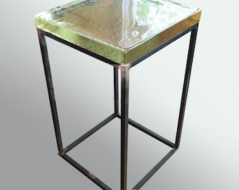 Modern Glass Top Side Table, Minimalist End Table, Contemporary Furniture,  Custom Furniture,