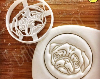 Pug Face cookie cutter | biscuit cutter | fondant cutter | clay cheese cutter | one of a kind ooak cute pugs dog パグ | Bakerlogy