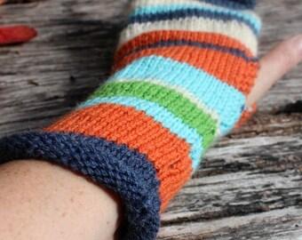 Long Fingerless Gloves, Striped Fingerless gloves. Handknitted Fingerless gloves. Armwarmers. Wrist warmers. Striped gloves. Burnt orange.