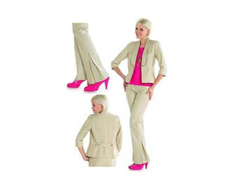 Classic woman pant suit ensemble pattern, Burda 7618, size 8 to 18, flared leg with vent detail, three quarter sleeve, UNCUT