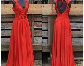 Vintage 1970s designer Frank Usher red full length deep v-neck evening gown with open back and gathered skirt 100% polyester disco dress
