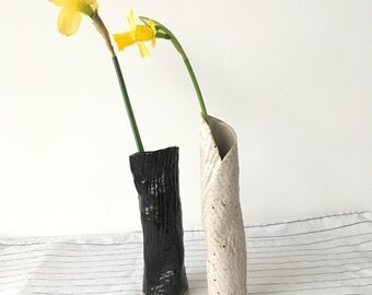 Small Wabi Sabi Stem Vases, Black and White Stoneware