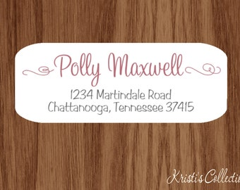 Ladies Return Address Labels Stickers - Custom Personalized Return Address Shipping Label - Calligraphy Swirly Elegant Gift for Mom