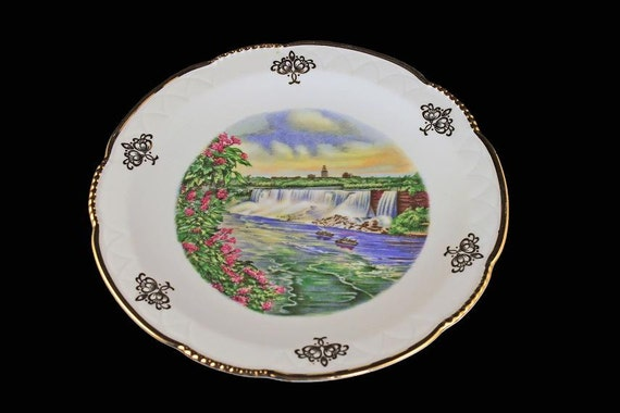 Mitterteich Bavaria Plate, Niagara Falls, Souvenir Plate, Display Plate, Gold Trimmed Plate, Collectible