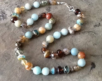 Amazonite Beads Knotted Necklace