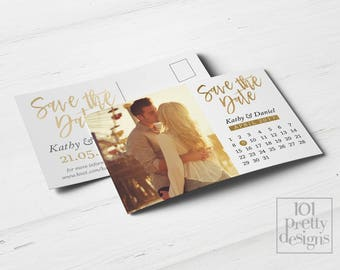 Photo save the date calendar printable save the date design gold foil postcard save the date template golden save the date card calendar