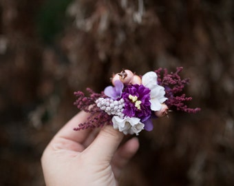 Flower hair clip Hair clip inspirated by autumn Romantic hair clip Hair clip in purple  Hair accessories