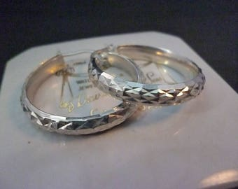 "Vintage shimmery sterling silver hoop earrings - 925 - 1.2"" x 1.2"""