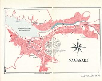 Nagasaki Map Art Etsy - Japan map nagasaki