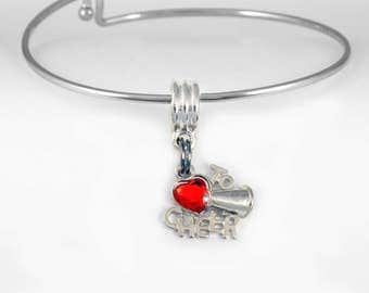 Cheer bracelet  cheer charm bracelet  cheer jewelry  cheerleader jewelry  Cheering jewelry cheering Bangle bracelet