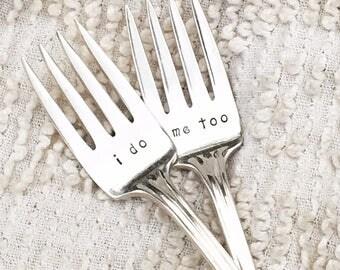 Vintage Wedding Forks - I do and Me too forks with dated handles,  cake forks, dessert forks, engagement gift