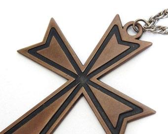 Bronze Cross Necklace // 80s //Vintage