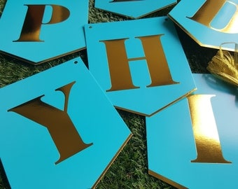 Happy Birthday Metallic Gold Party Bunting 3.6m - Blue and Gold