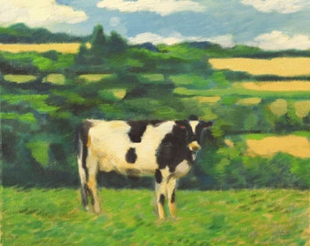 Small oil painting- black and white cow in pasture, 12x12 canvas, blue, green, blue, pale yellow, contact me if interested