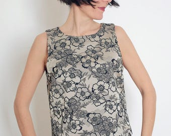 Embroidered Crop Top - Floral Crop Top - Beige and Black Flowers Top - Romantic Embroidered Top - Short Top - Audrey Style - Black Flowers
