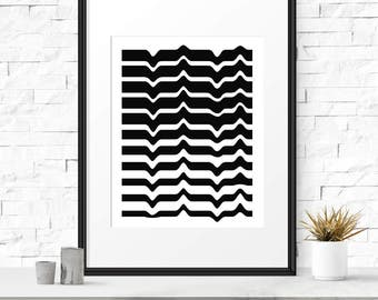 Abstract print, Wave print, Contemporary art, Modern prints, Trendy art, Line prints, Nordic art, Decoration prints Minimalist print