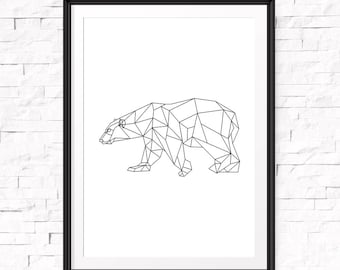 Geometric Bear, Minimalist Poster, Polar Bear Print, Printable Minimalist, Origami Art, Geometric Animals, Digital Art, Downloads, Bear Art