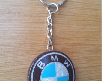 BMW Coconut Shell Key Ring Hand Carved by Tibetan Artist Coconut Shell Crushed Pearl and Crushed Turquoise