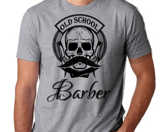 Barber T-Shirt Old School Hipster Barber Tee Shirt