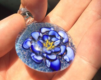 Borosilicate Glass Flower Pendant - Blown Glass Lampwork Pendant - Trippy Glass Pendant - Trippy Glass Jewelry - Glass Pendant for Her