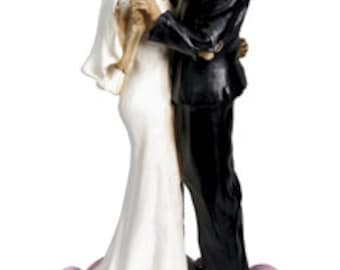 Kissing Wedding Skulls Cake Topper