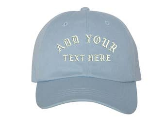 Custom Dad Hat Embroidered Dad Hat,YOUR TEXT HERE Kanye Custom Hat Personalized Baseball Cap,Choose Your Text,Custom Stitching, Sky Blue