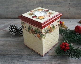 Christmas tea light candleholder, Wooden box, Christmas decor, Christmas gift, Eco candy box,Claret. Beige.Modern vintage decor, Candle cent