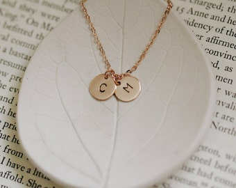 Two Rose Gold Initials on One Necklace / Set of Two or One / Hand Stamped Custom Personalized Engraved Letter Initials / BFF Necklace Set