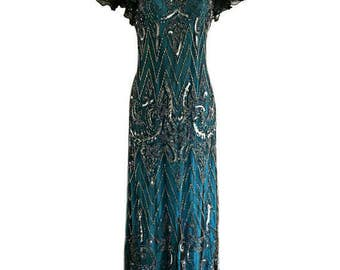 SALE Embellished Blue Dress, 1920s Gatsby Party Style, Sequin Maxi Dress, Special Occasion Dress, Roaring 20s, Evening Cocktail Ball Gown, L