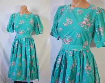 Vintage 80s Floral Laura Ashley Dress Full Skirt Rockabilly Dress Cotton Summer Dress Sea Foam Green Bridesmaid Dress Garden Party Day Dress