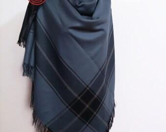 Blanket scarf plaid blanket scarf, blanket plaid scarf for her, oversized scarf, blanket scarves, large blanket scarf, gray blanket scarf,