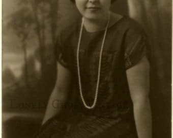 1920s Flapper Girl with Pearl Necklace / Womans Portrait / Vintage Sepia Photo / Old Picture / Art Deco