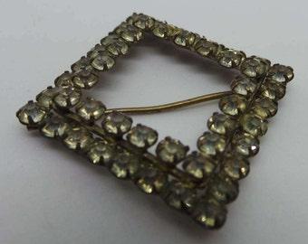 Vintage belt buckle - Diamond diamante belt buckle slider
