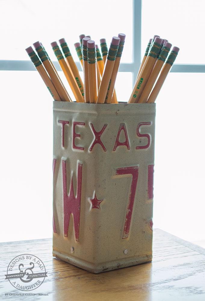 Texas License Plate Pencil Holder Pencil Cup Desk
