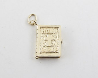 14k Yellow Gold Holy Bible Vintage Charm Pendant - Bible With Prayer Inside