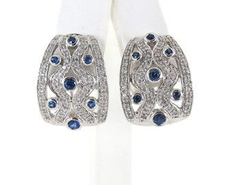 14k White Diamond And Sapphire Earrings 1.00 carat - Gemstones Earrings