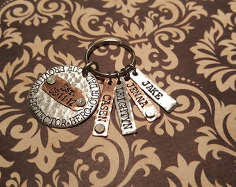 Our PROVIDER, Protector, HERO...Our _______ -keychain with Est. date and names-Chose # of name tags-Dad-Mom