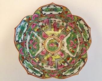 Large Rose Medallion Bowl in Lotus Shape, Hand-Painted in Hong Kong, Chinoiserie Asian Decorative Bowl, Hong Kong Bowl