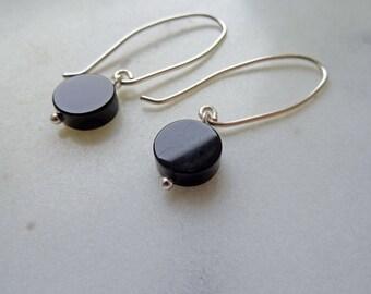 Black Onyx earrings - black gemstone ear threader - disk earrings - lagenlook - long black earrings - Onyx earrings - modern minimalist - UK